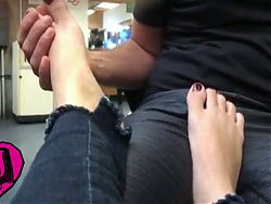 AJ Lee gets her feets massaged